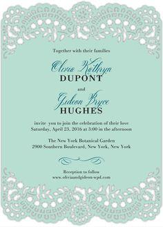 Classic Devotion - Signature Laser Cut Wedding Invitations in Sea Glass or Linen | Alexis Mattox Design
