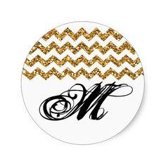 20 - 1.5  Envelope Seal Gold Glitter Chevron Strip Round Stickers