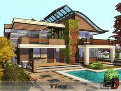 Tina house by from TSR for The Sims 4 design australia design building plans design diy design interior design layout design modern Sims 4 Modern House, Sims 4 House Design, Sims 4 Ps4, Sims Cc, Sims 4 Cheats, Lotes The Sims 4, Sims Building, Building Plans, Sims House Plans