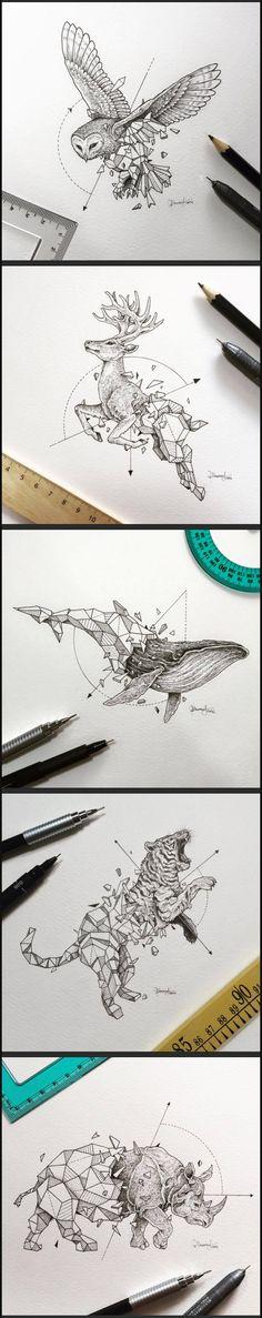 Geometric Beast series by Kerby Rosanes #animal #geometric #polygonal…