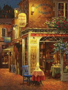 Cobble Hill Auberge De Savoie 500 Piece Jigsaw Puzzle by Artist Viktor Shvaiko: A beautiful French street scene at night will challenge you to complete this 500 piece jigsaw puzzle. It is made by Cobble Hill in the USA. The finished puzzle measures x Belle Image Nature, Cross Stitch Supplies, Rhone, Painting Inspiration, 500 Piece Jigsaw Puzzles, Home Art, Find Art, Photos, Art Prints