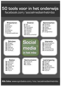 50 socialmedia tools verdeeld over 8 verschillende toepassingen voor het onderwijs! http://www.symbaloo.com/mix/socialmediainhetmbo