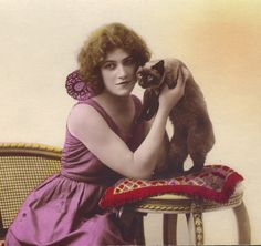 1920s French Postcard of Young Woman with Siamese by redpoulaine, $12.00