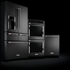Black stainless steel kitchenaid appliances... Just replaced the nasty old appliances in the new house with these. Way too expensive!!! But they do look good...
