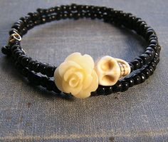 Day of the Dead Bracelet Wrap Around memory wire by shabbyskull