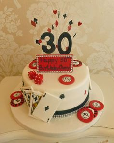 30th Las Vegas themed birthday cake