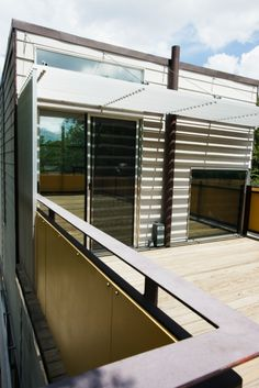 Unique deck with blinds and mirrors. #architecture #minimalism #edges #likeforlike