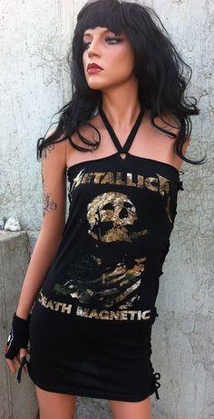 Black Metallica Shredded Band Shirt Mini Dress by TShreds on Etsy, $40.00