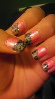 Cute pink camo nails