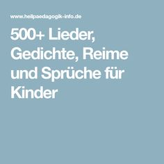 500+ Lieder, Gedichte, Reime und Sprüche für Kinder