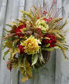 Fall Wreaths, Autumn Floral, Designer Wreath, Thanksgiving Wreath, Door Basket. via Etsy.