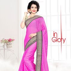 Shop New Fashioned Magnetic Saree in Pink colour.