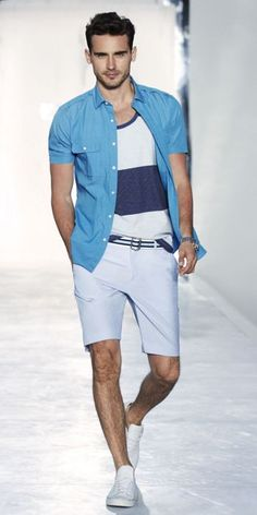 Great summer look- Level 2.  Shorts with a tee, with an open short sleeve button down.  Crisp whites always look classic and classy.