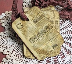 Vintage Classified Handmade Gift Tags by Cottonridgevintage, $6.00