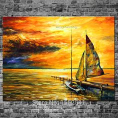 Big Wall Art Decor - Sailing Away — Palette Knife Abstract Sunset Seascape Oil Painting On Canvas By Leonid Afremov. Big Wall Art, Yellow Wall Art, Wall Art Prints, Canvas Prints, Ship Paintings, Sunset Paintings, Oil Painting Abstract, Painting Canvas, Diy Painting