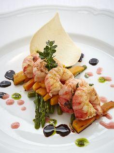 Sautéed local prawns with pumpkin and wild asparagus served at La Terrazza, Belmond Hotel Splendido.