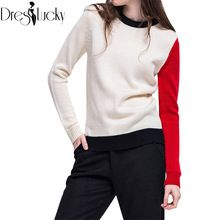 2016 Autumn Fashion knitted christmas sweater patchwork casual jumpers women sweaters and pullovers knitwear clothing pull femme(China (Mainland))
