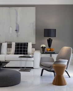 A contemporary gray sitting room