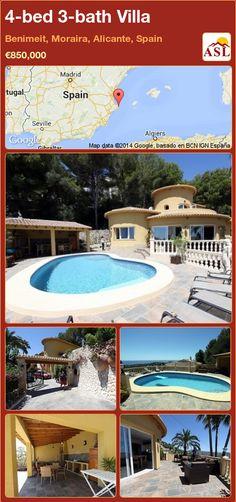 4-bed 3-bath Villa in Benimeit, Moraira, Alicante, Spain ►€850,000 #PropertyForSaleInSpain