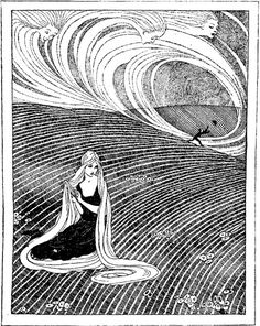 "~Illustration by Jennie Harbour (English Art Deco artist and illustrator, from ""The Goose Girl"" chapter in ""The Blue Fairy Book"" edited by Andrew Lang, free online book in comments Ink Illustrations, Children's Book Illustration, Fantasy Kunst, Fantasy Art, Fairy Tale Images, Art Deco Artists, Dark Fairytale, Art Watercolor, Black And White Illustration"