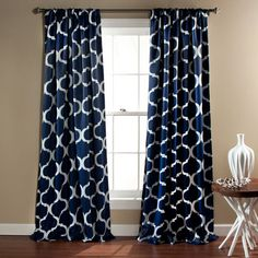 Geo Navy 84 X 52 Inch Blackout Curtain Panel Pair Lush Decor Panels & Panel Sets Window Tr