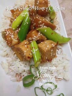 Julie's Ginger Honey Chicken  1 pound skinless chicken breasts Fillets Pepper to taste 1 c honey 1/2 c soy sauce  ½ c hoisin sauce !/2 c water 2 tbs coconut oil (tasteless) 1 1/2 tsp garlic salt 1 teaspoon minced Ginger  5 stalks spring onion cut into 1 inch lengths 1/2 tsp chili flakes (or a bit more - lol) Place chicken fillets (whole) in Slow Cooker and season with pepper.  Mix honey, soy sauce, oil, hoisin, water, garlic salt, ginger and chili flakes together and pour over chicken. Cook…