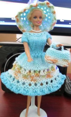 """Ladyfingers - Barbie - Dress and Hat with Open """"Yarn Over"""" Lacy Pattern, with Purse"""
