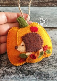 PRE ORDER / Pumpkin ornament with Hedgehog and colorful leaves, Fall decorations, Autumn decor, Wool Felt ornament - 1 ornament Felt Christmas Decorations, Easter Bunny Decorations, Felt Christmas Ornaments, Christmas Snowman, Christmas Christmas, Pumpkin Ornament, Felt Applique, Felt Embroidery, Autumn Crafts