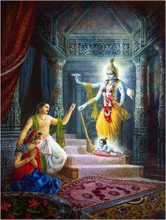 Vishnu takes Birth as Krishna - Son of Vasudeva and Devaki - Hindu Posters (Reprint on Paper - Unframed) Baby Krishna, Krishna Birth, Krishna Lila, Radha Krishna Photo, Shree Krishna, Radhe Krishna, Hanuman, Lord Krishna Images, Radha Krishna Images