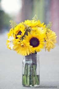 Yellow Sunflowers and Gerber Daisies bouquet in a mason jar for a simple, yet co. Yellow Sunflowers and Gerber Daisies bouquet in a mason jar for a simple, yet country-chic centerpi Sunflower Centerpieces, Sunflower Arrangements, Sunflower Bouquets, Mason Jar Centerpieces, Wedding Centerpieces, Wedding Decorations, Yellow Sunflower, Centrepieces, Centerpiece Ideas