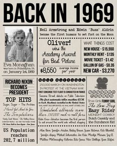 Back in 1969 Sign, Personalised 1969 Newspaper Poster with Photo, Last Minute Birthday Gift, DIGITAL FILE, 50 Years Ago History Back in 1969 Print Personalised 1969 Newspaper Poster with 50th Party, 50th Birthday Gifts, 50th Birthday Ideas For Women, Wife Birthday, Birthday Sayings, Birthday Board, Birthday Images, Happy Birthday, Diy 50th Birthday Decorations