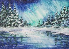 Original ACEO Northern Lights Winter Landscape Miniature Watercolor Reinecke COA #Miniature