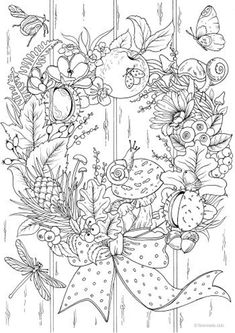 Autumn Wreath - Printable Adult Coloring Page from Favoreads (Coloring book pages for adults and kids, Coloring sheets, Colouring designs) - rajz Whale Coloring Pages, Abstract Coloring Pages, Cute Coloring Pages, Flower Coloring Pages, Mandala Coloring Pages, Christmas Coloring Pages, Animal Coloring Pages, Coloring Books, Kids Coloring