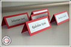Winietki na stół - czerwony ślub / Red Wedding www.cardsdesign.pl