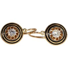 Antique French Diamond and Enamel Back-to-Front Earrings in 18k Gold