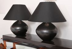 Pair of Gunmetal-Glazed Ceramic Table Lamps | From a unique collection of antique and modern table lamps at http://www.1stdibs.com/furniture/lighting/table-lamps/
