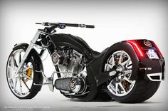 American Chopper Cadillac CTS-V Bike by Paul Jr Designs LOVE This.watched how he designed the fender.has talent. American Chopper, Bobbers, Scooters, Cruisers, Motos Harley Davidson, Cadillac Cts V, Cool Motorcycles, Concept Motorcycles, Hot Bikes