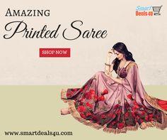 Buy Online Amazing Printed Saree on Smartdeals4u.com Whats App :- 9953089027