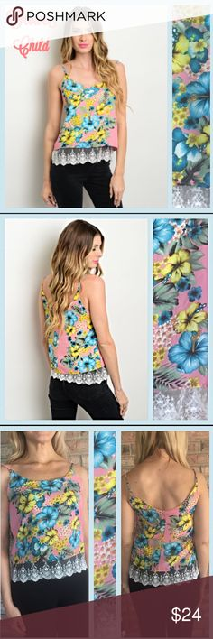 Flower Child Lace Hem Spaghetti Strap Tank Top Cutest little floral tank featuring a scalloped lace hem & spaghetti straps. Soft lined polyester with pink background and colorful blue & yellow flowers. Junior sizes  S 3/5 M 7/9 L 11/13 Tops Tank Tops
