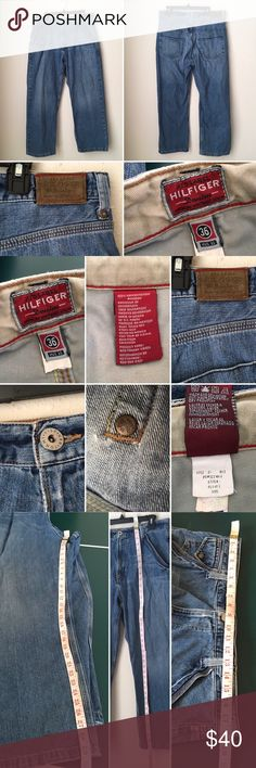Tommy Hilfiger premium vintage denim jeans G Very good used condition. Measurements included. Authentic. Distressed at pockets corner n by zipper. As pictured. Smoke pet free. Coin pocket. Cuffs has minor normal wear. Creased by front pockets. As pictured. Tommy Hilfiger Jeans Relaxed