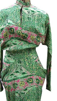 Schiaparelli 1940 40s green rayon novelty print dress designer couture