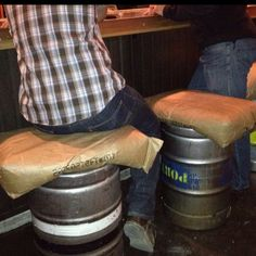 Bar stools - idea found at Lost Abby brewery in San Diego.