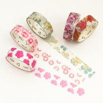 Floral+tapes+in+Japanese+style+made+of+washi+paper Great+for+scrapbooking,+planners,+card+making,+gift+wrap,+etc  Quantity:+5+pcs Size:+1.5+cm(W)+x+3+m(L)