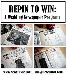 Repin to win a wedding newspaper program from NewsFavor.com!