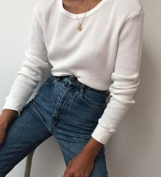 all white denim jeans style necklace tan simple womens fashion womens st… – 2019 &; Sweaters ideas all white denim jeans style necklace tan simple womens fashion womens st… – 2019 &; All White Outfit, White Outfits, Fall Outfits, Casual Outfits, Casual Shirts, Mode Outfits, Fashion Outfits, Womens Fashion, Fashion 2018