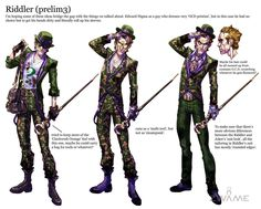View an image titled 'Riddler Concept Art' in our Batman: Arkham City art gallery featuring official character designs, concept art, and promo pictures. Arkham City Riddler, Batman Arkham Asylum, Batman Concept Art, Batman Artwork, Gotham Villains, Al Ghul, Hq Marvel, Justice League Wonder Woman, Creepy Clown