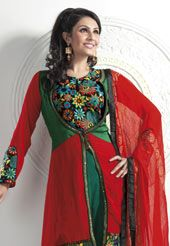 Red and Green and Black Faux Georgette Churidar with Dupatta