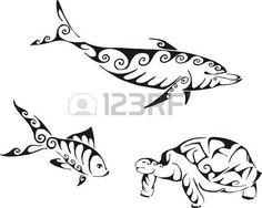 Golfinho, peixes e tartarugas em estilo tribal. Jogo de ilustra photo
