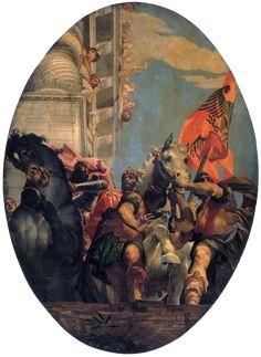 De triomf van Mordechai ~ Uit de reeks De geschiedenis van Esther ~ 1556 ~ Olieverf op doek ~ 500 x 370 cm. ~ San Sebastiano, Venetië