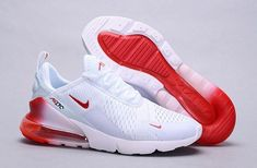 Mens Womens Winter Nike Air Max 270 Flyknit Sneakers Summit white university red black NIKE010388